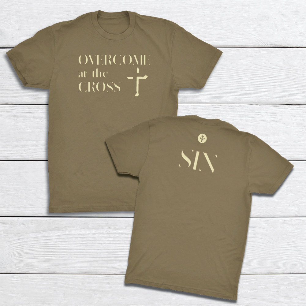 OvercomeAtCross-Sin-MilitaryGreen-tshirt